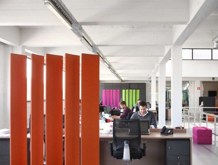 BuzziBlinds Freestanding Acoustic Room Dividers in Open Space Office