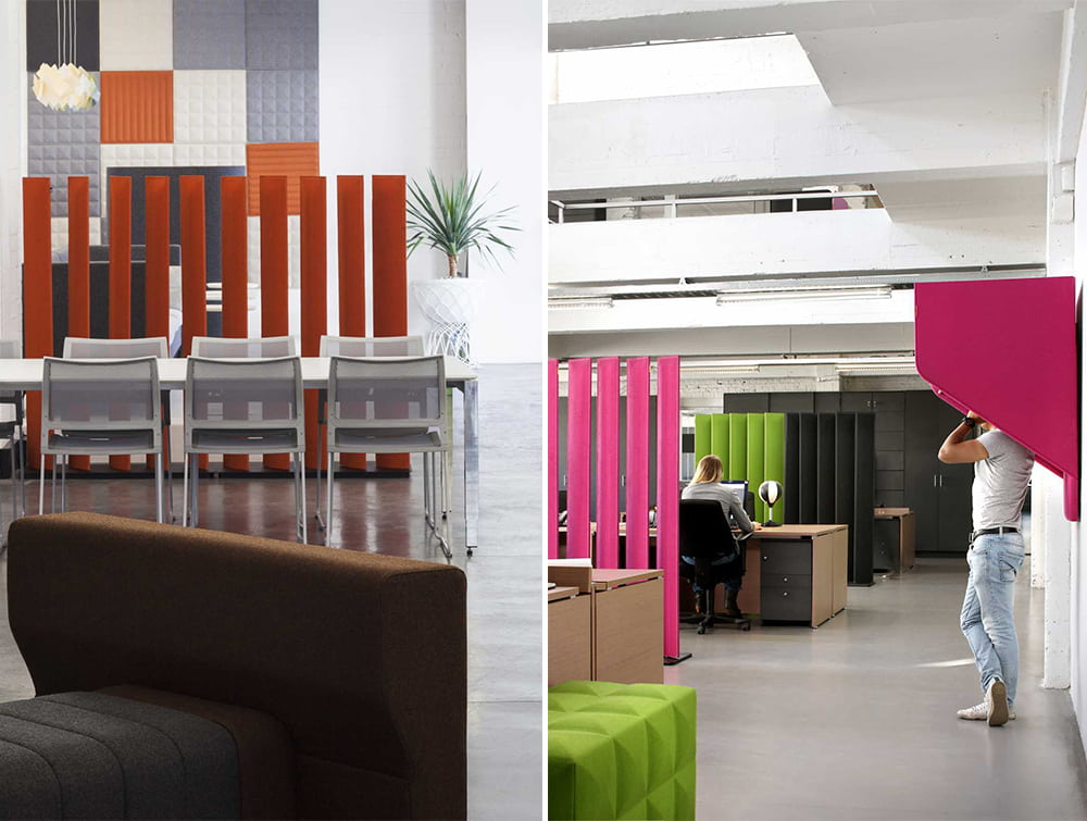 BuzziBlinds Straight Freestanding Acoustic Office Dividers with BuzziHood