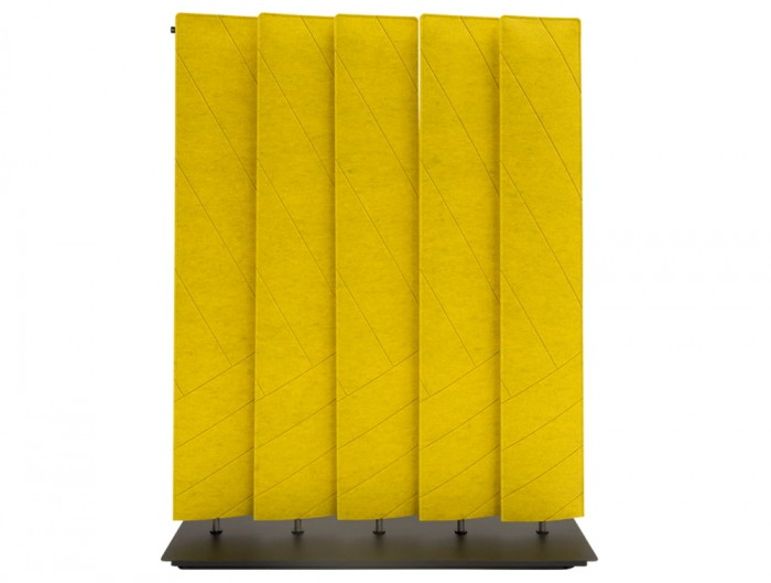 BuzziBlinds Straight V Cut Freestanding Acoustic Screen Yellow with Black Baseplate