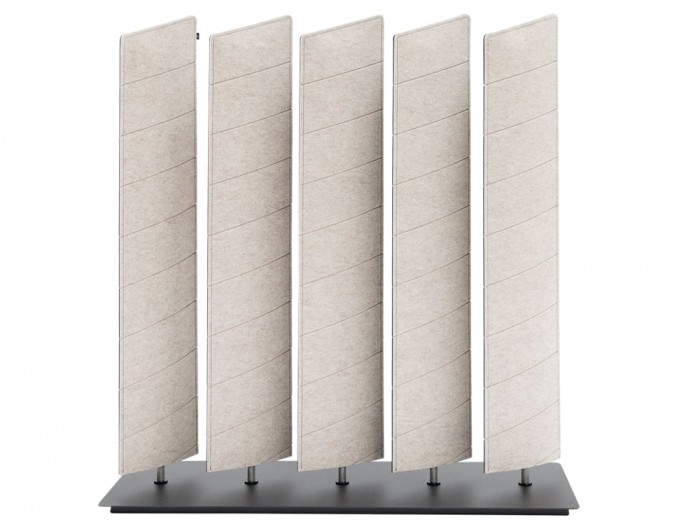 BuzziBlinds Wedge V Cut Freestanding Acoustic Screen Beige with Black Base