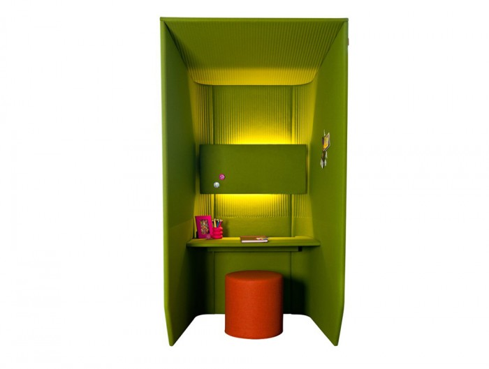 BuzziBooth-Green-Single-Acoustic-Workstation-Pod-with-Orange-Pouffe-and-Lights