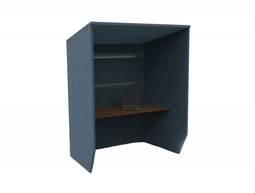 BuzziBooth-Side-by-Side-Acoustic-Workstation-Blue-with-Brown-Table-Desk-and-Light