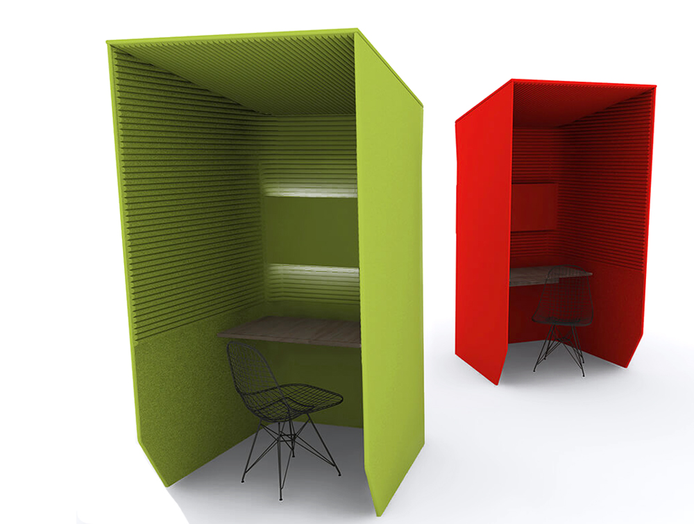 BuzziBooth-Single-Accoustic-Workstation-Pod-Green-and-Red