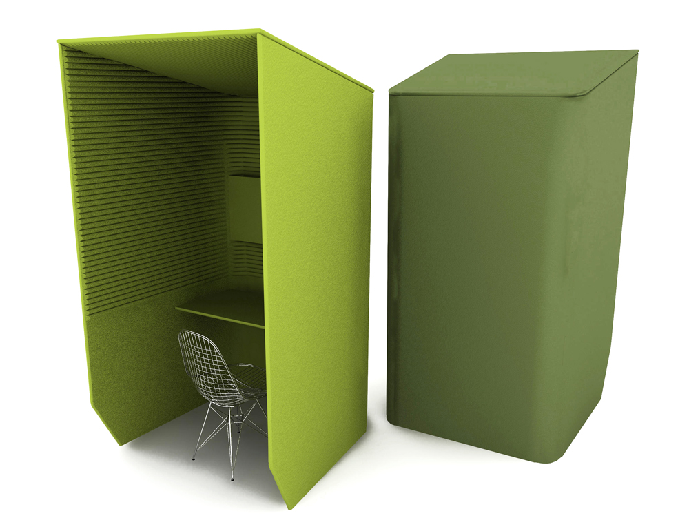 BuzziBooth-Single-Acoustic-Workstation-Pod-Front-and-Back-Green-with-Chrome-Chair