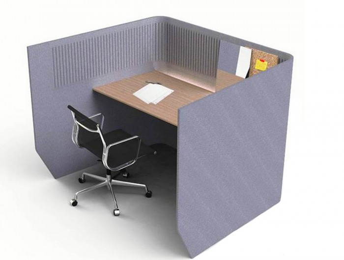 BuzziBooth-Targa-Acoustic-Open-Wokstation-Pod-Grey-with-Lights-and-Black-Chair