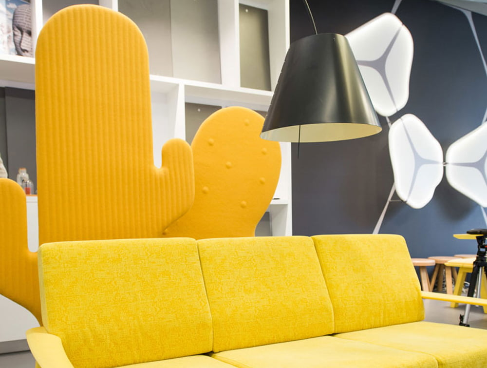 BuzziCactus Freestanding Acoustic Panel Yellow in Breakout Area