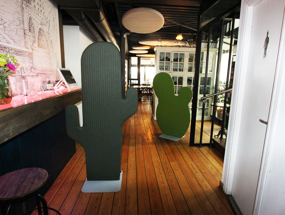 BuzziCactus Gringo and Taco Freestanding Acoustic Screen Reception Area