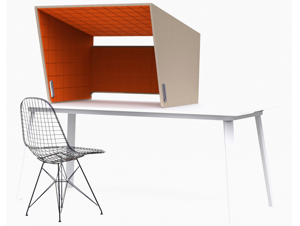 BuzziCockpit-Over-the-Workstation-Portable-Acoustic-Cover-Two-Tone-Beige-Exterior-with-Orange-Interior