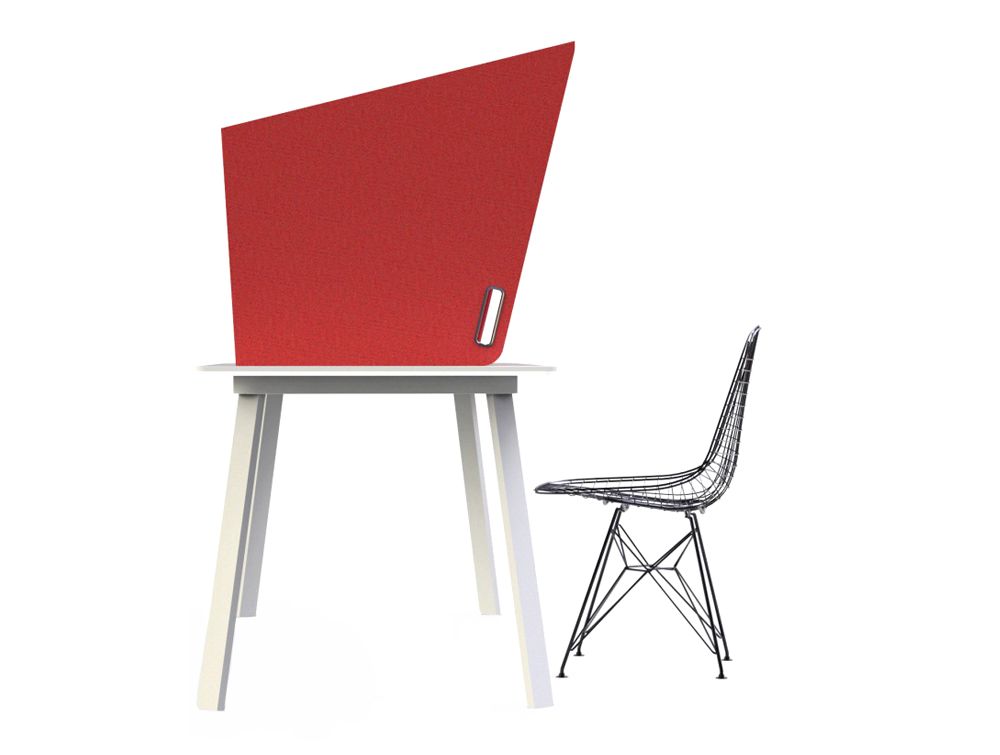 BuzziCockpit-Over-the-Workstation-Portbale-Acoustic-Cover-Red-Side-Lateral-Handle-with-Black-Chair