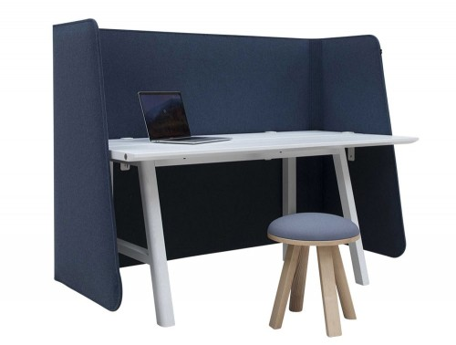 BuzziDesk-Wrap-Front-Full-Desk-Acoustic-Screen-Blue-with-White-Desk-and-Stool