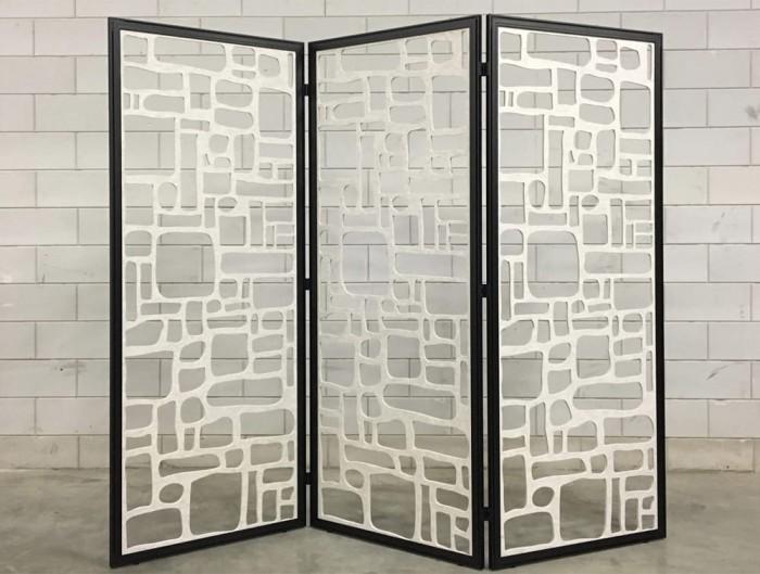 BuzziFalls Custom Designed Freestanding Acoustic Decorative Panel Black Frame and White Panel