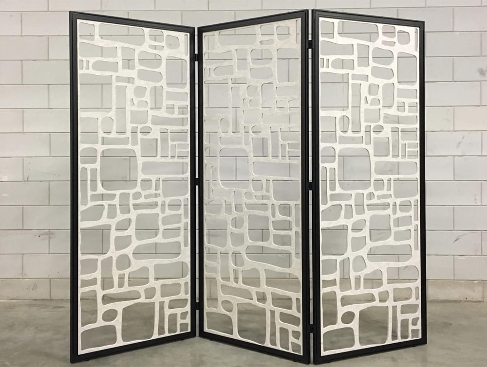 BuzziFalls Custom Designed Freestanding Acoustic Decorative Panel Black Frame and White Panel