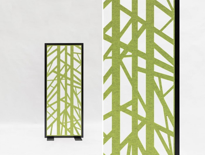 BuzziFalls Grid Green Pattern Freestanding Acoustic Decorative Panel