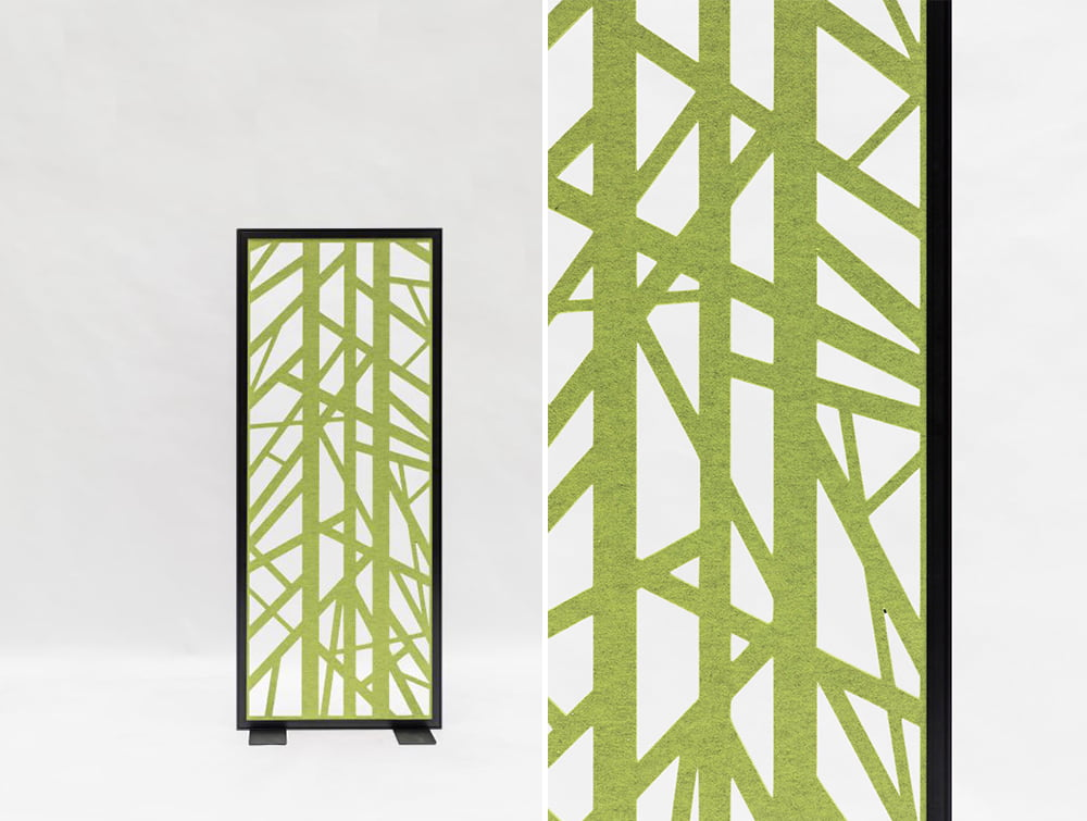 BuzziFalls Grid Green Pattern Freestanding Acoustic Decorative Panel