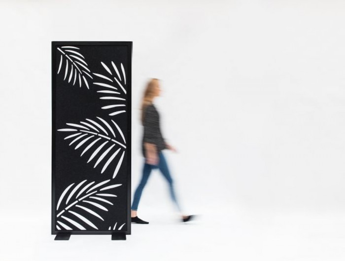 BuzziFalls Palms Pattern Freestanding Acoustic Decorative Panel in Black
