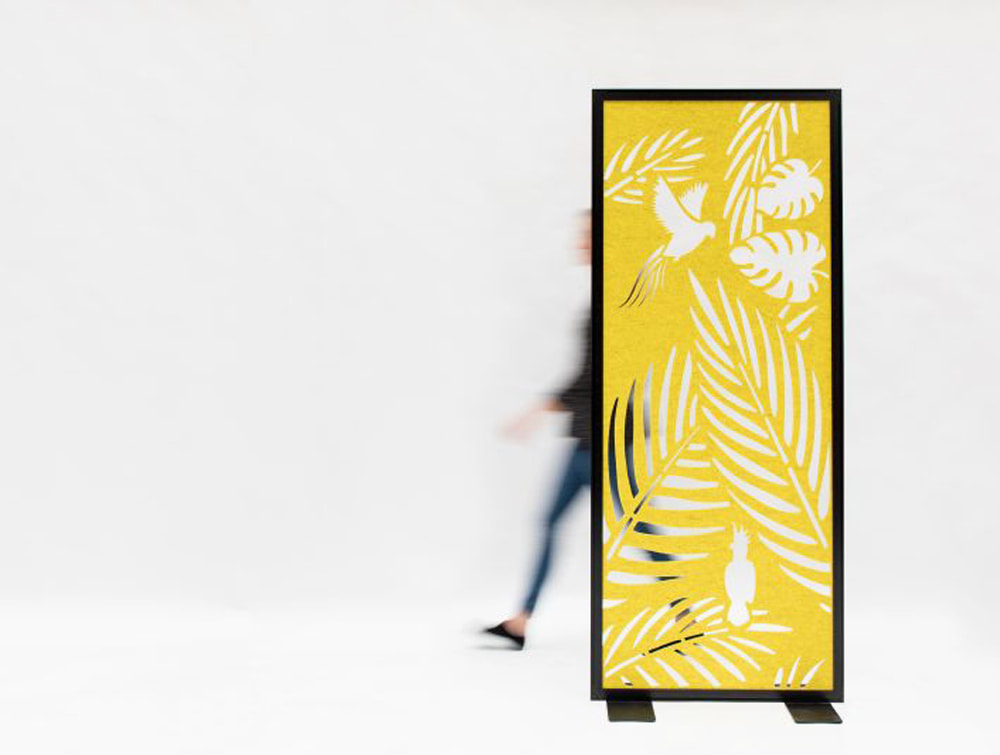 BuzziFalls Parrots Designed Freestanding Acoustic Screen for Office Divider Black Frame and Yellow Pattern