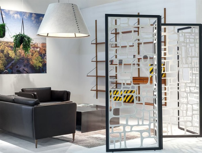 BuzziFalls Pebbles Freestanding Acoustic Room Divider Reception Area with BuzziShade Pendant Light