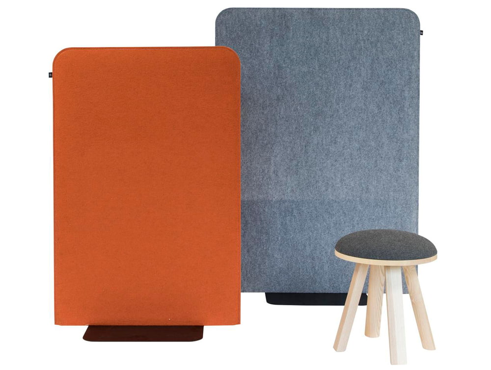 BuzziFree Funky Freestanding Acoustic Room Dividers Small and Medium Orange Blue with Stool
