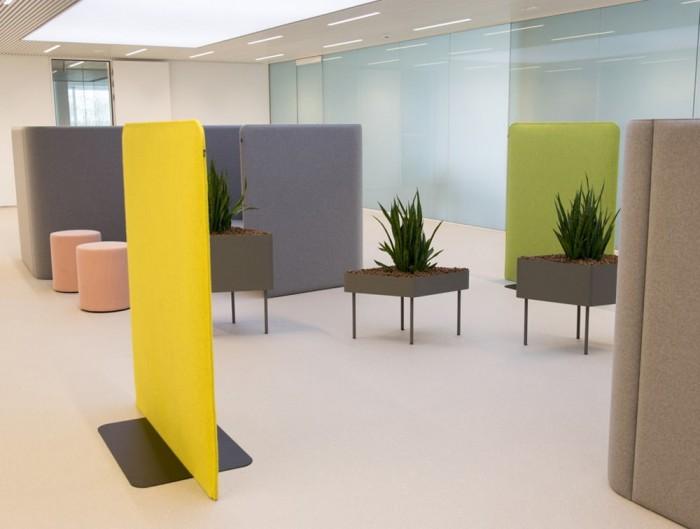 BuzziFree Funky Freestanding Acoustic Room Dividers Yellow Reception Area