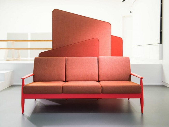 BuzziFrio Machu Freestanding Acoustic Room Dividers with Sofa in Reception Area