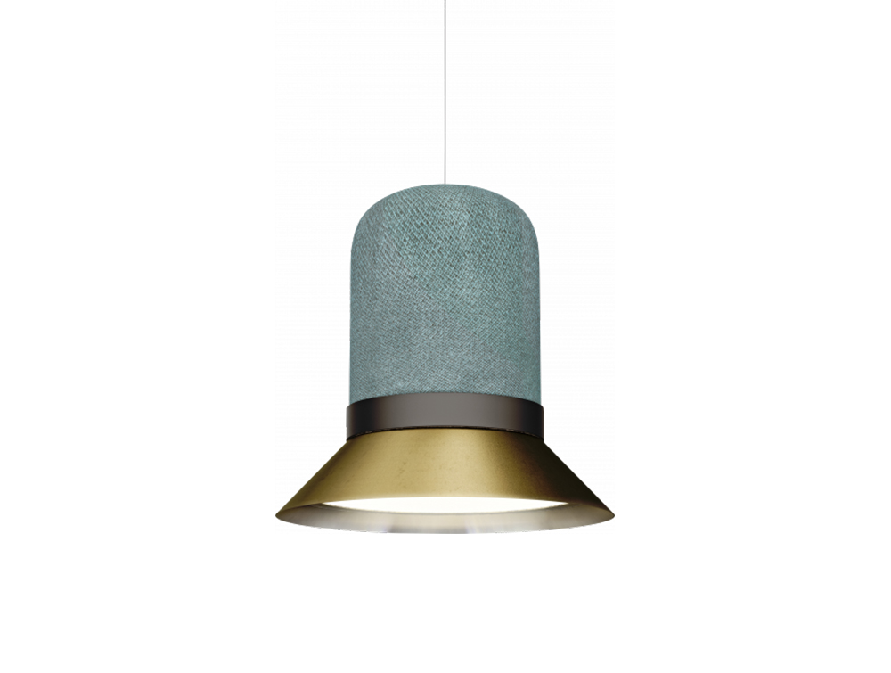 BuzziHat-Large-Acoustic-Pendant-Ceiling-Light-Green-and-Gold