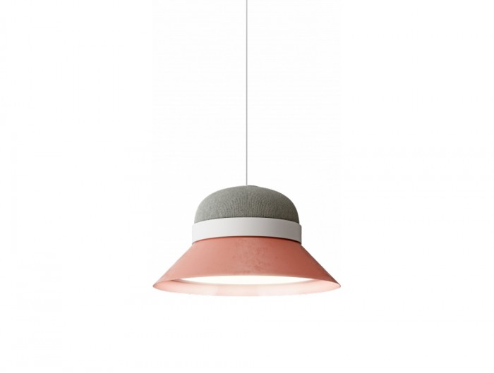 BuzziHat-Small-Acoustic-Pendant-Ceiling-Light-Pink-and-Grey