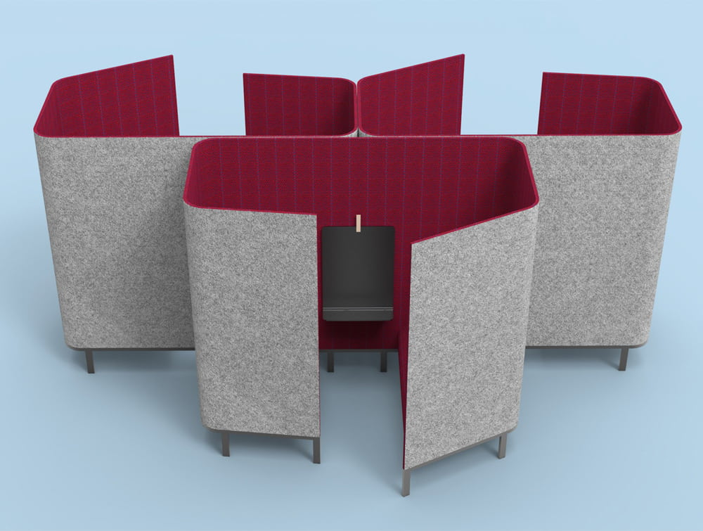 BuzziHive-Acoustic-Meeting-Pods-Beehive-Effect-Outside-Grey-Inside-Fuchsia-and-Black-Tablet