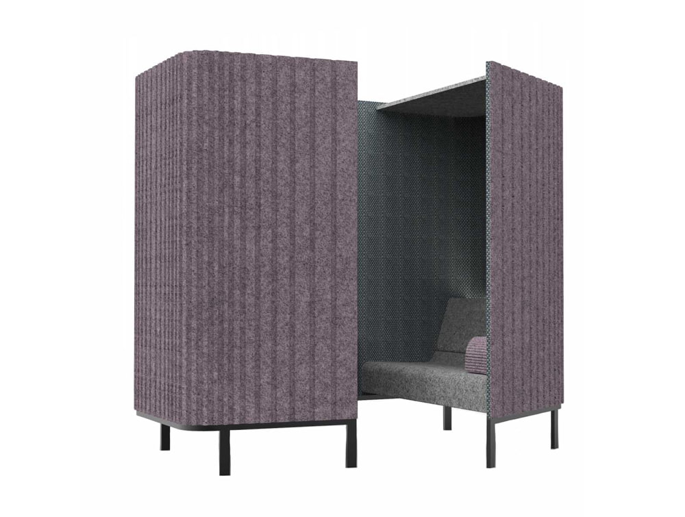 BuzziHive-Acoustic-Meeting-Pods-Purple-and-Grey-with-Cushion-and-Lights