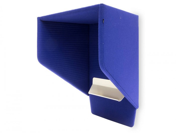 BuzziHood-Wall-Mounted-Acoustic-Phone-Booth-Electric-Bleu-3D-Pattern-with-Tablet