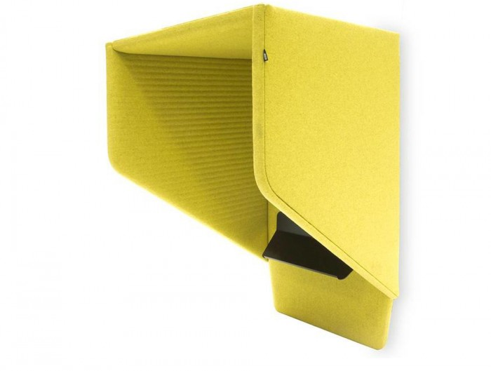 BuzziHood-Wall-Mounted-Acoustic-Phone-Booth-Yellow-3D-Pattern-with-Black-Tablet