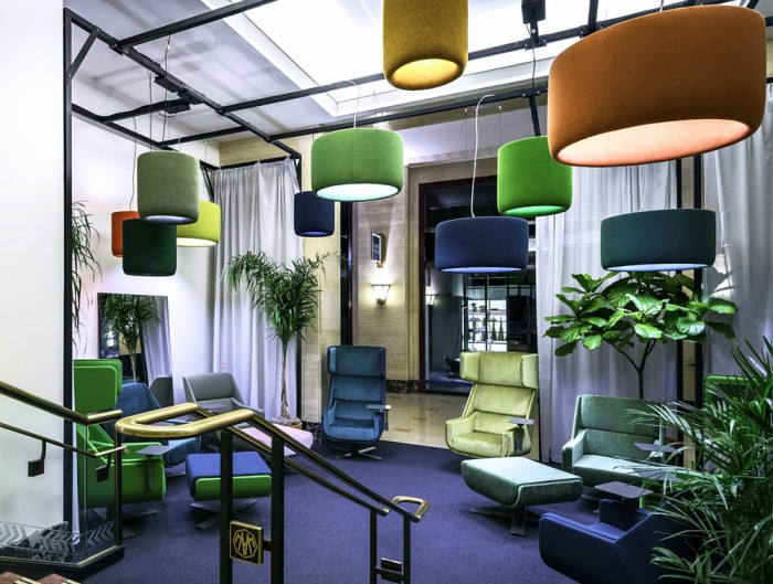 BuzziJet-Acoustic-Circular-Pendant-Ceiling-Light-Green-Blue-Orange-Yellow-with-Lounge-Chair