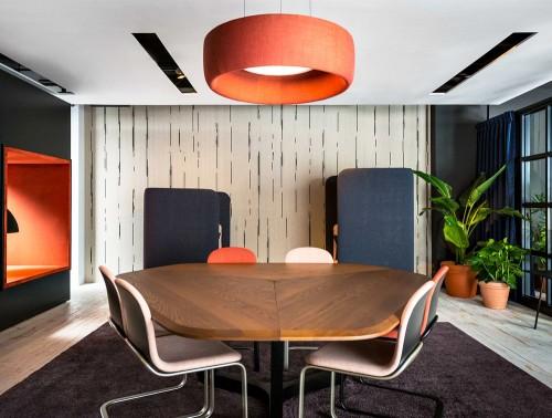 BuzziJet-Small-Acoustic-Circular-Pendant-Ceiling-Light-Orange-with-BuzziSpark