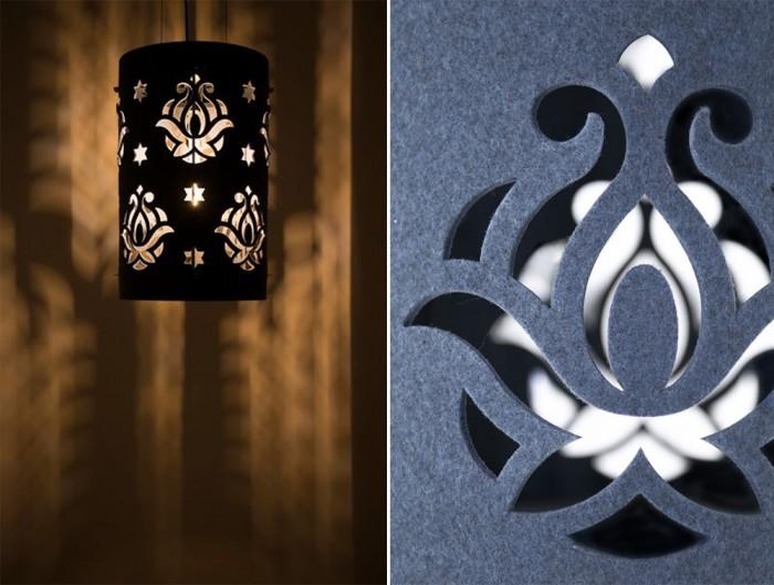 BuzziLight-Royal-Decorative-Acoustic-Ceiling-Light-Laser-Cut-Pattern-Blue