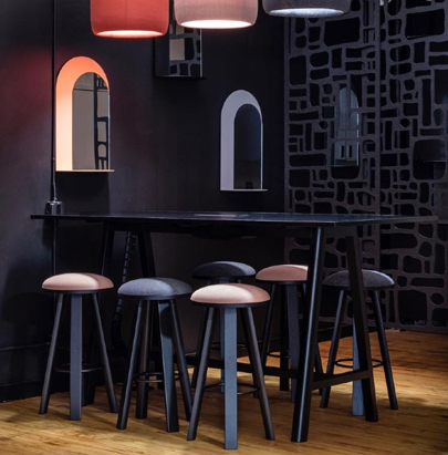BuzziMilk Stool 10 in Bar Size with Different Color in Bar Setting