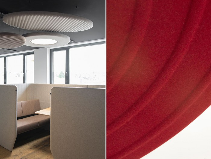 BuzziMoon-Round-Ring-Shaped-Acoustic-Ceiling-Light-Beige-with-BuzziVille-Club-and-Red-BuzziFelt-fabric