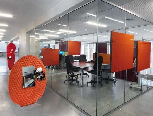 BuzziPlant Freestanding Acoustic Ribbed Panel Mobi and Doldi Orange Stick Pin Onto
