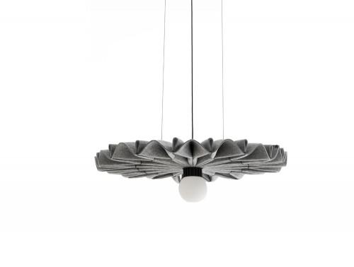 BuzziPleat-Edel-Acoustic-Pendant-Ceiling-Light-Grey