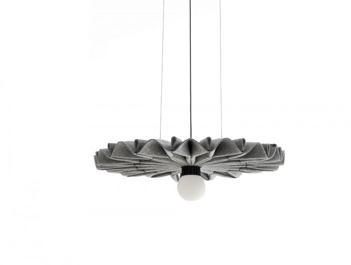 BuzziPleat-Edel-Acoustic-Pendant-Ceiling-Light-Grey