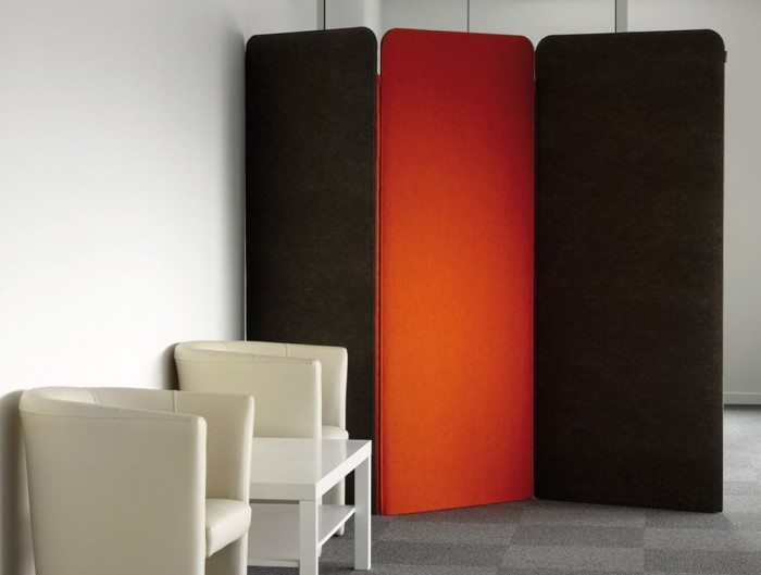 BuzziScreen Modular Freestanding Acoustic Folding Screen in Reception Area with Lounge Chairs