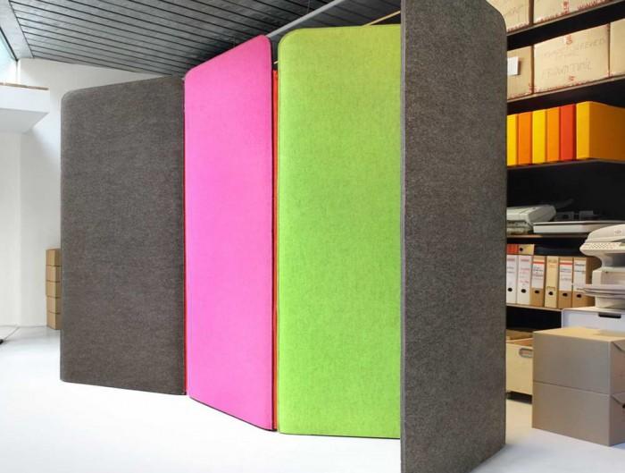 BuzziScreen Modular Freestanding Acoustic Room Dividers Storage Panel Grey Pink Green