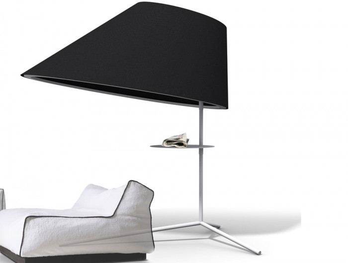 BuzziShade-Acoustic-Freestanding-Overhead-Light-Black-with-White-Frame-and-Tablet