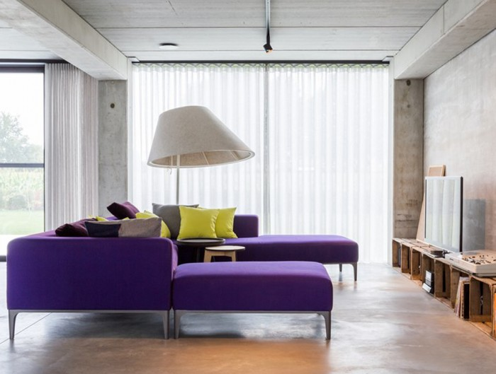 BuzziShade-Acoustic-Freestanding-Overhead-Light-Grey-with-White-Frame-and-Purple-Sofa-in-Living-Room-House-Home