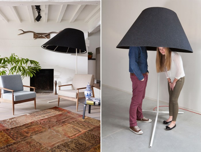 BuzziShade-Acoustic-Freestanding-Overhead-Light-Living-Room-Black-or-Anthracite-Hide-Away