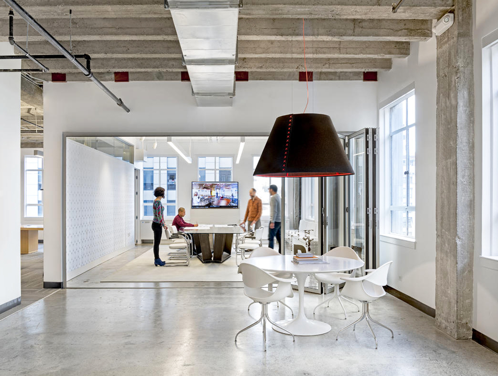 BuzziShade-Acoustic-Pendant-Ceiling-Light-Office-Lobby-Meeting-Room-Brown-and-Red