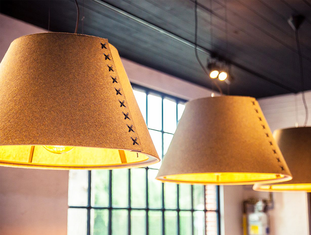 BuzziShade-Acoustic-Pendant-Ceiling-Light-Yellow-Orange-with-Black-Lace