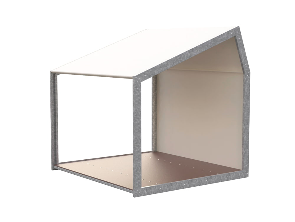 BuzziShed-Half-Open-Left-Outdoor-Shelter-for-Canteen-en-Meeting-White-Pierre-with-Antiskid-Plywood-Floor