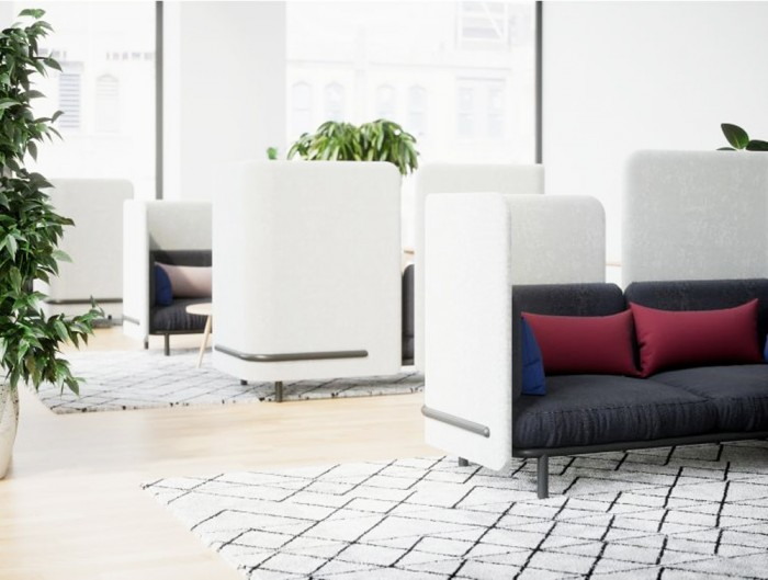BuzziSpace-Acoustic-2-Seater-Lounge-Comfy-Sofa-White-and-Black-with-Red-Cushion-Office