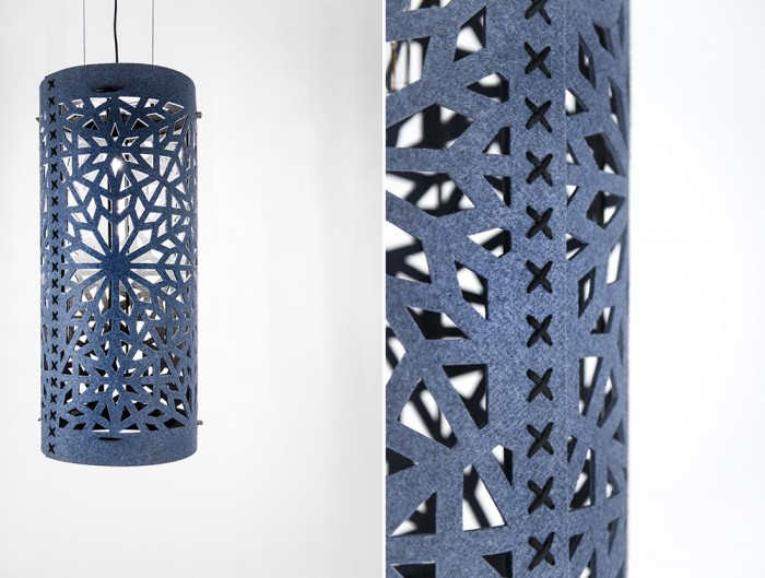 BuzziSpace-Alhambra-Decorative-Acoustic-Ceiling-Light-Blue-with-Black-Wool-Stiches