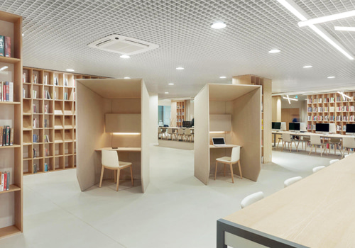 BuzziSpace-Booth-Single-Acoustic-Workstation-Pod-Beige-in-Library