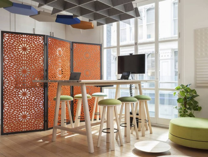BuzziSpace Falls Alhambra Pattern Freestanding Acoustical Room Divider with Table Stools and BuzziBalance Pouffe